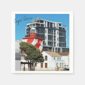 Cape Town Cityscape Red Lighthouse Paper Napkin