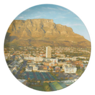 Cape Town Cityscape With Table Mountain Plate