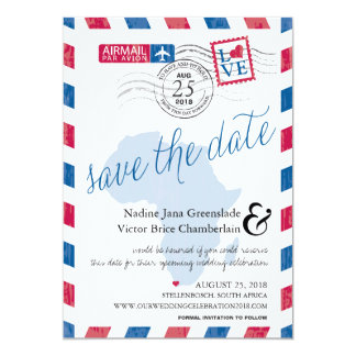 Cape Town South Africa Airmail Save The Date Card