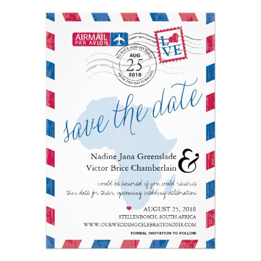 Cape Town South Africa Airmail Save The Date Custom Invite