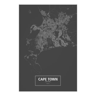 Cape Town, South Africa (white on black) Poster