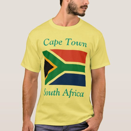 Cape Town, South Africa with South African Flag