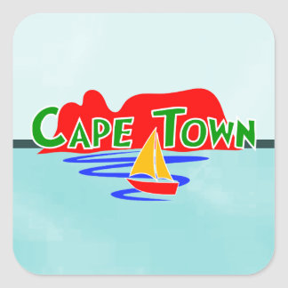 Cape Town Table Mountain Blue Square Stickers