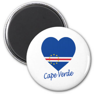 Cape Verde Flag Heart 6 Cm Round Magnet