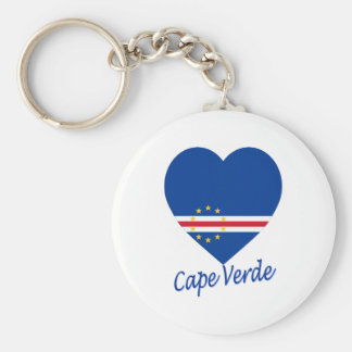 Cape Verde Flag Heart Basic Round Button Key Ring