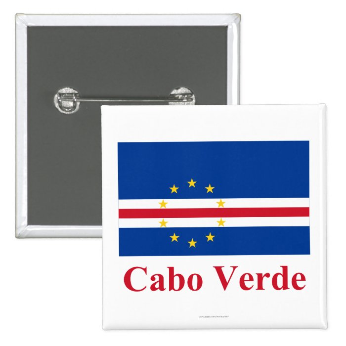 Cape Verde Flag with Name in Portuguese 15 Cm Square Badge