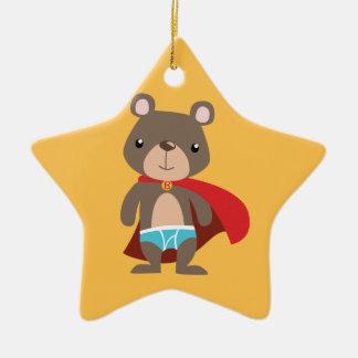 Caped Super Hero Bear Ceramic Star Decoration