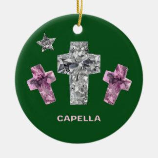 Capella jewels® Cross Cut Diamond Ceramic Ornament