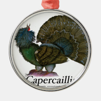 Capercaillie bird, tony fernandes Silver-Colored round decoration