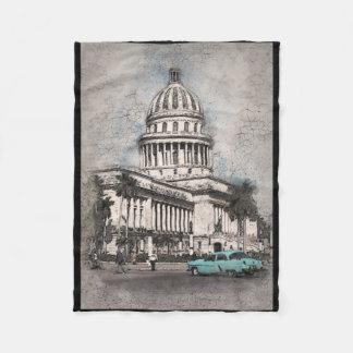 Capital Building Antique Vehicle Scene Fleece Blanket