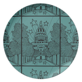 Capital Building Texas Line Art Design Dinner Plates