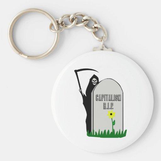 Capitalism R.I.P. Gravestone with Grim Reaper Keychain