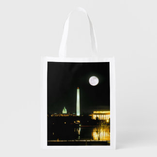 Capitol Building, Lincoln Memorial, Washington Reusable Grocery Bag