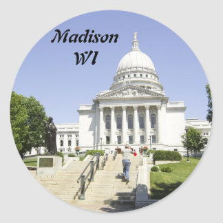 Capitol Building Madison WI Classic Round Sticker