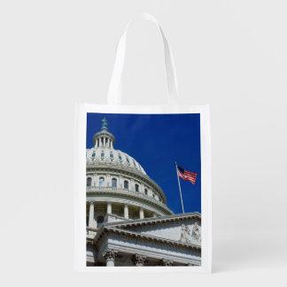 Capitol Building, Washington, USA Reusable Grocery Bag