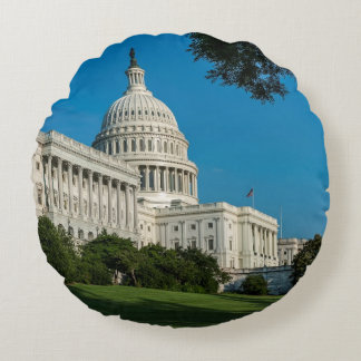Capitol Building West View Round Cushion