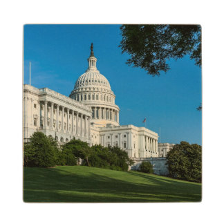 Capitol Building West View Wood Coaster