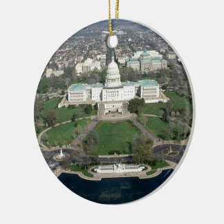 Capitol Hill Aerial Photograph 2 Round Ceramic Decoration