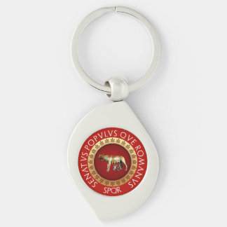 Capitoline She-Wolf Silver-Colored Swirl Key Ring
