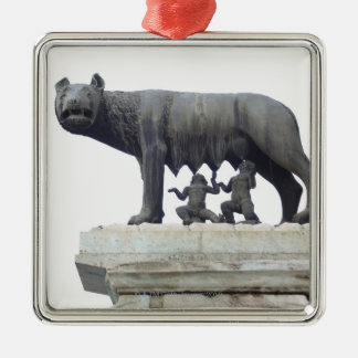 Capitoline Wolf Statue (She-wolf suckling), Silver-Colored Square Decoration