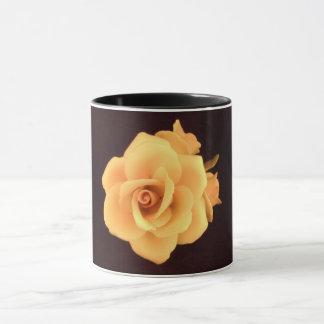 Capodimonte Yellow Rose 11 oz two tone mug black h
