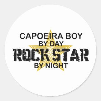 Capoeira Boy Rock Star by Night Round Stickers