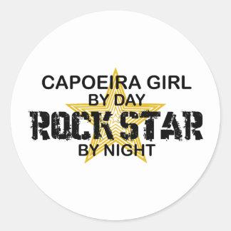 Capoeira Girl Rock Star by Night Round Stickers