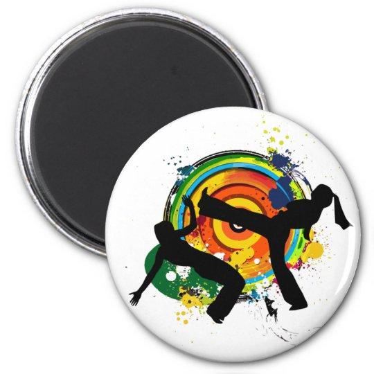 capoeira silhouette 6 cm round magnet