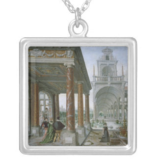 Cappricio of palace architecture silver plated necklace