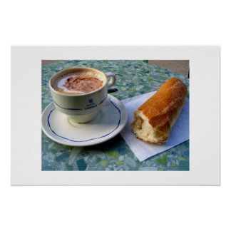 Cappuccino and Baguette Poster