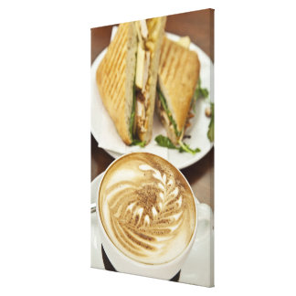 Cappuccino and panini lunch canvas print