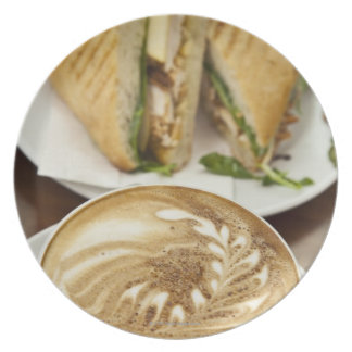 Cappuccino and panini lunch plate