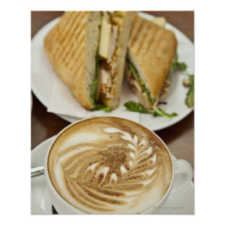 Cappuccino and panini lunch poster