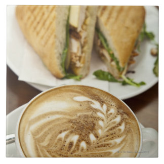 Cappuccino and panini lunch tile