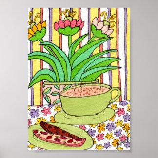 Cappuccino & Biscotti in a Cafe Mini Folk Art Poster