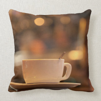 Cappuccino coffee, Venice, Italy Throw Pillow