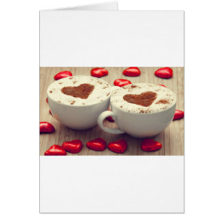 Cappuccino Loves Chocolate Hearts Greeting Card