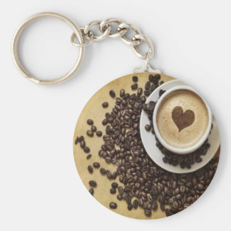 Cappucino Heart Cafe Basic Round Button Key Ring