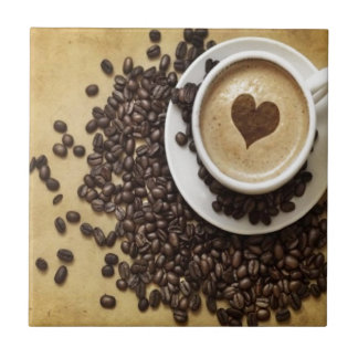 Cappucino Heart Cafe Small Square Tile