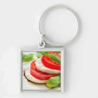 Caprese Salad. Tomato and Mozzarella slices Key Ring