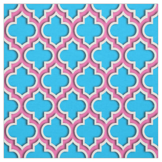 Capri Blue, Hot Pink Moroccan Quatrefoil #5DS Fabric