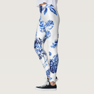 Capri Blue Vintage Botanical Floral Leonbience Leggings