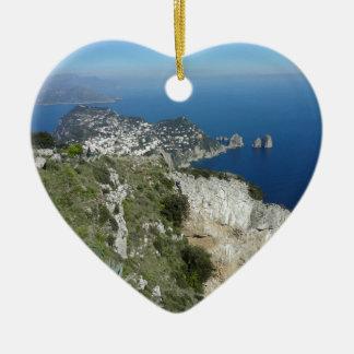Capri Faraglion Rocks Italy High View.JPG Christmas Ornament