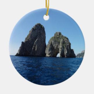 Capri Faraglion Rocks Italy Round Ceramic Decoration