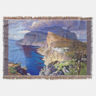 Capri Italy Villa Ocean Coast Sea Throw Blanket