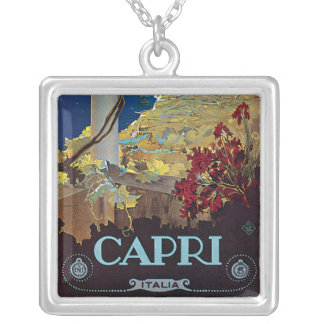Capri, Italy Vintage Travel Poster Silver Plated Necklace