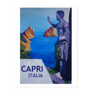 Capri view with Ancient Roman Empire Statue Poster Postcard