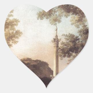 Capriccio: River Landscape with a Column Canaletto Heart Sticker