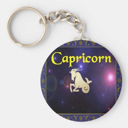 Capricorn Basic Round Button Key Ring