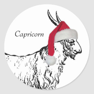 Capricorn Christmas Classic Round Sticker